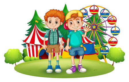 Illustration of the two boys in front of the carnival on a white background Illustration