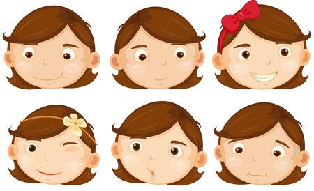 茶髪: 茶色の髪の女の子のさまざまな感情のイラスト  イラスト・ベクター素材