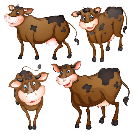 Illustration of a brown cow with different posts Vector