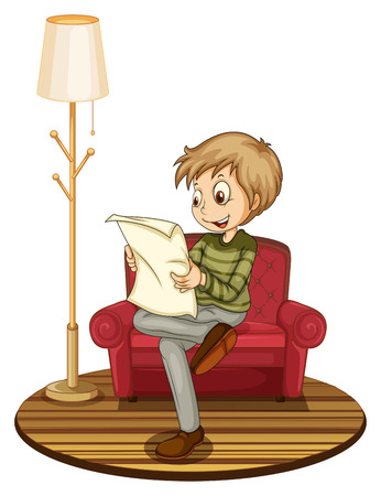 Illustration of a boy reading a newspaper on a sofa Vector