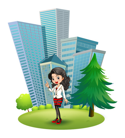 Illustration of a woman outside the big buildings on a white background Vector