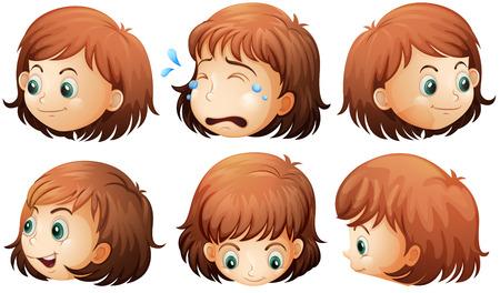 Illustration der verschiedenen Gesichtsausdrücken auf weißem Hintergrund