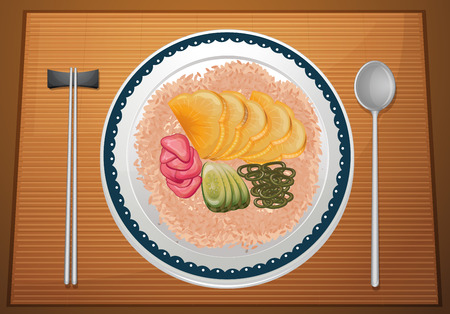 korean food: Illustration of a plate of rice with veggies Illustration