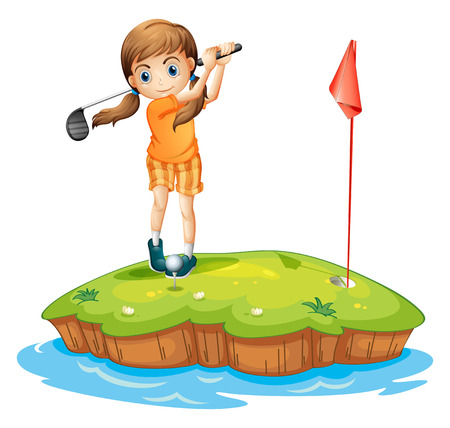 woman golf: Illustration of a young woman playing golf on a white background