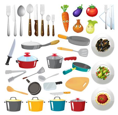 zanahoria caricatura: Ilustración de untensils cocina