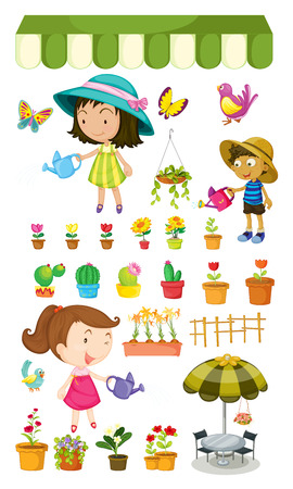 Illustration of the kids watering the plants on a white background Vector