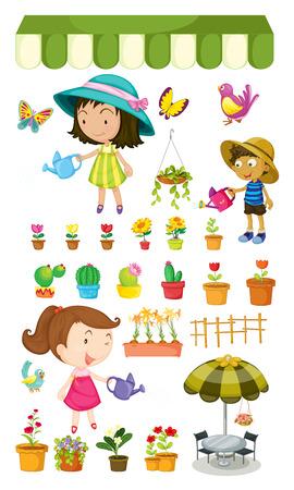regar las plantas: Ilustración de los niños regar las plantas sobre un fondo blanco Vectores