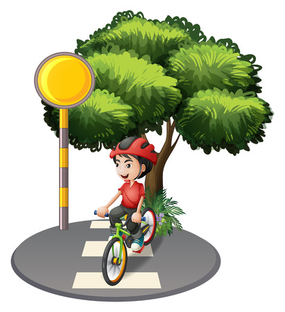 bicycle lane: Illustration of a street with a boy biking on a white background