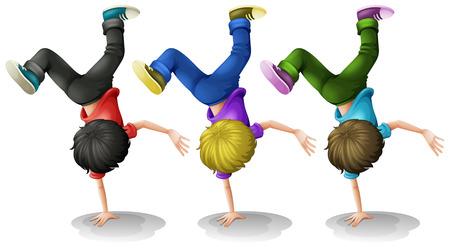 balanced: Illustration of three boys doing a handstand