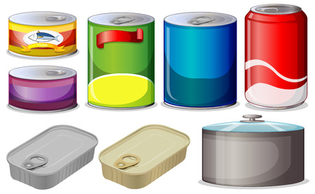 tin packaging: Illustration of  different type of cans
