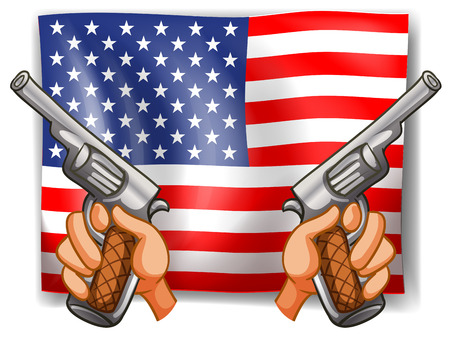 sates: Illustration of American flag with guns Illustration