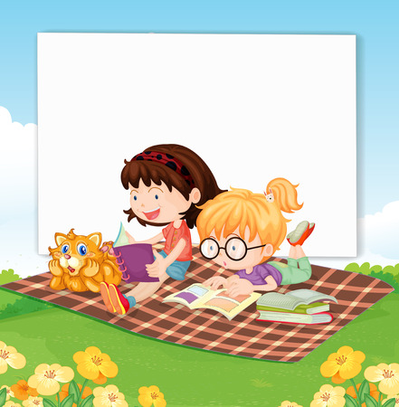 Illustration of a banner with children reading books Vector