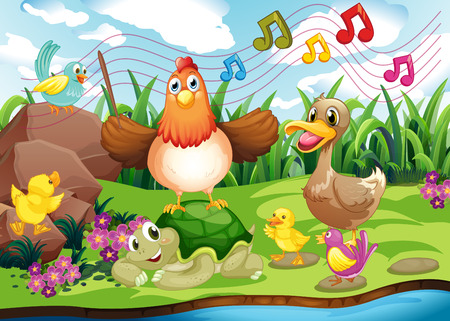 Illustration of the animals singing at the riverbank Vector