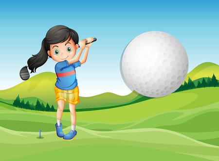 예행 연습: Illustration of a young lady playing golf