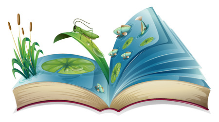 water lilly: Illustration of a book lives in the pond