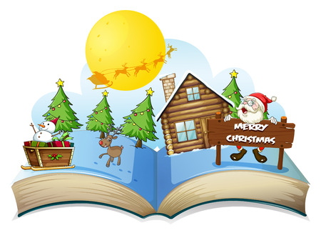 Ilustración de un libro navidad popup