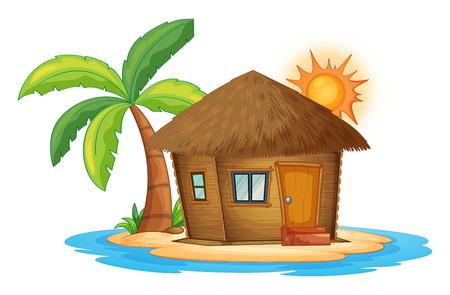 白い背景の上の島の小さな nipa 小屋のイラスト