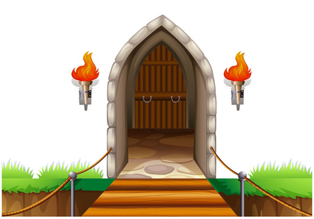 Illustration of a closed door at the castle on a white background