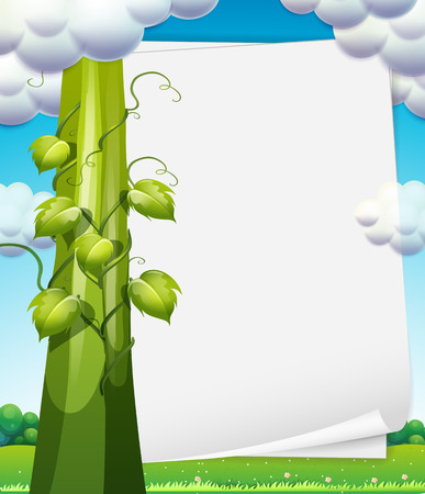 bush bean: Ilustration of a banner with beanstalk on the side