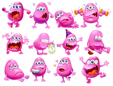 cartoon emotions: Illustration of a set of monster with different emotions
