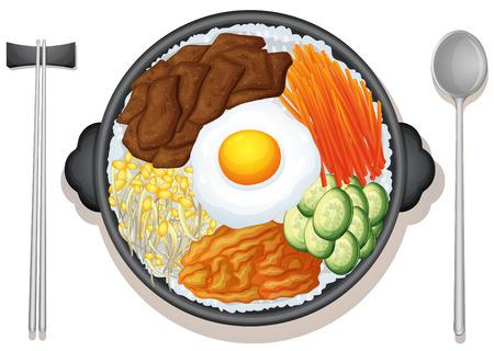 dinner food: Ilustraci�n de un plato de comida coreano Vectores