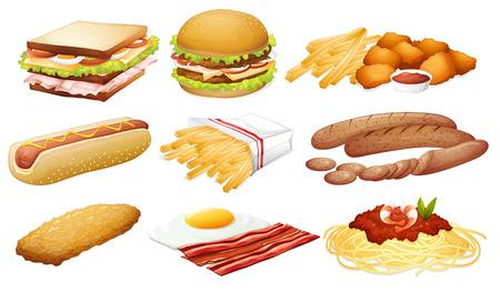 Illustration of a set of fastfood