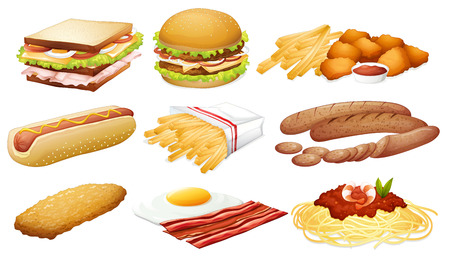 Illustration of a set of fastfood