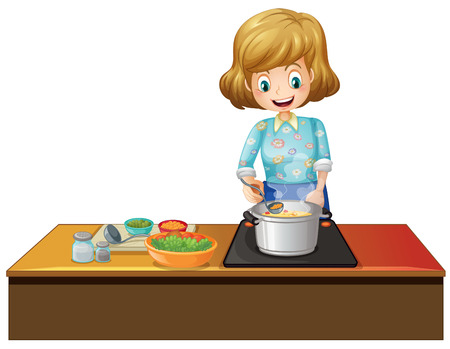 Ilustration of a woman cooking in a kitchen