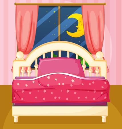 cartoon bed: Illustration of a bedroom