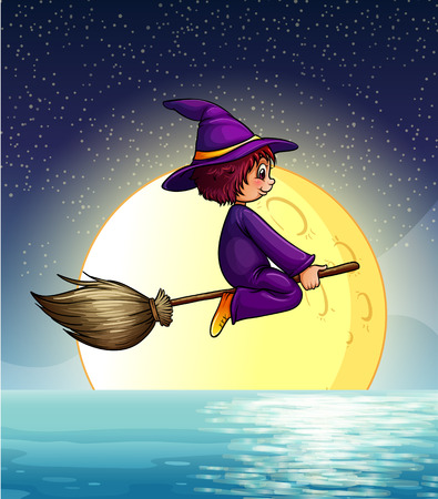 Ilustration of a witch flying at night Vector