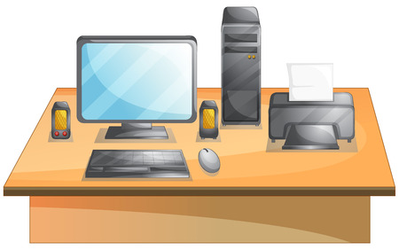 Illustration of a set of personal computer on a desk