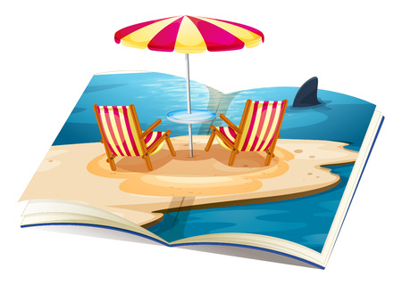 holiday picture: Illustration of a pop up book of beach