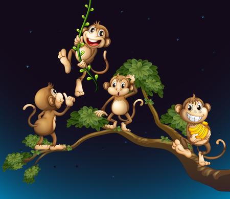 cartoon banana: Illustration of a tree with four playful monkeys Illustration