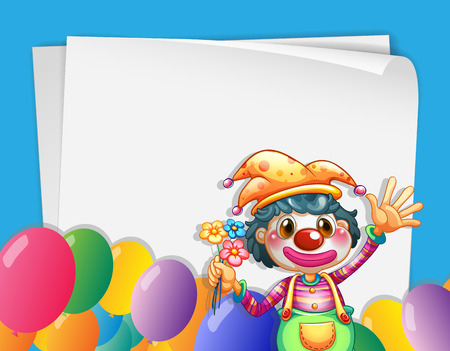 Illustration of a banner with a clown and balloons Vector