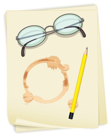 Ilustration of papers with coffee stain Vector