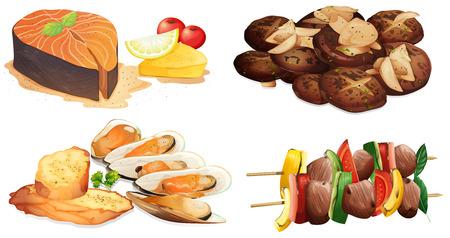 salmon ahumado: Ilustración de los diferentes platos