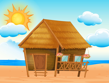 bungalow: Illustration of a house on the beach