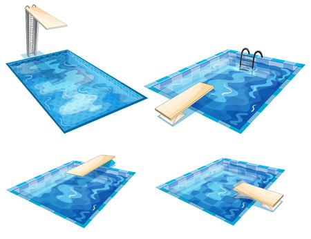 Illustratie van de set van zwembaden op een witte achtergrond