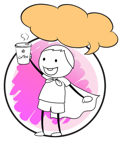 Illustration of a boy holding a cup of coffee Vector