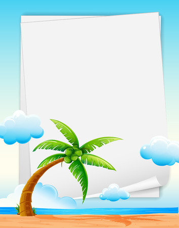 Illustration of a banner with beach background Vector