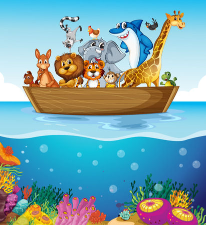 Illustration of a boat at the sea with animals Vector