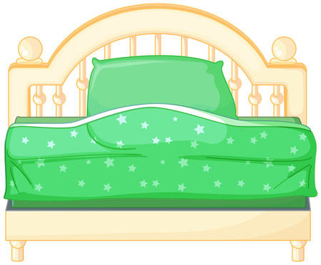 bedder: Ilustration of a bed with green sheets