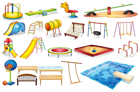 cartoon ball: Ilustration of a set of equipment in a playground Illustration