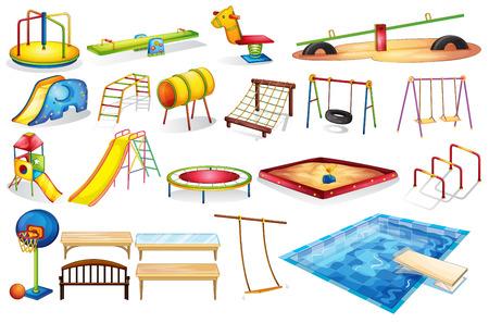 niños en area de juegos: Infografía de un conjunto de equipos en un patio de recreo