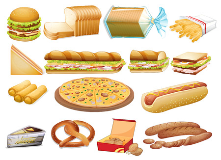 chees: Illustration of a set of food