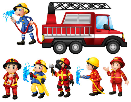 fire truck: Illustration of a set of firefighters Illustration
