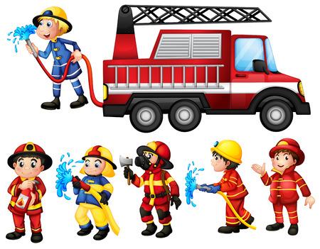 Illustration of a set of firefighters Illustration