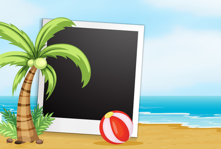 Illustration of a photo frame with beach background Vector