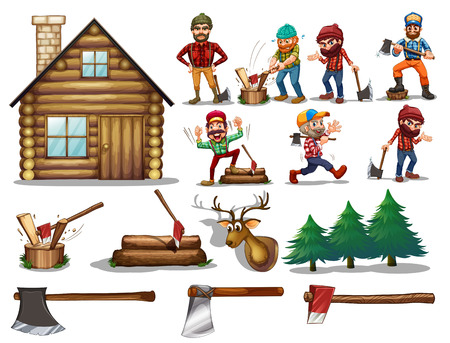 hut: Ilustration of a set of lumberjack with actions
