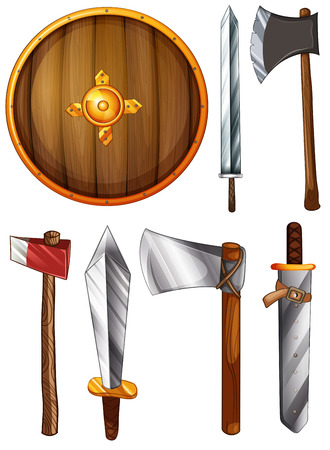 ax: Illustration of a shield, swords and axes on a white background Illustration